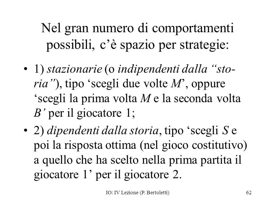 IO: IV Lezione (P. Bertoletti)62 Nel gran numero di comportamenti possibili, cè spazio per strategie: 1) stazionarie (o indipendenti dalla sto- ria),