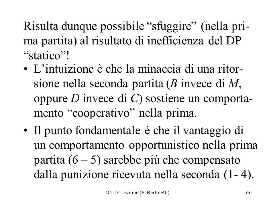 IO: IV Lezione (P. Bertoletti)66 Risulta dunque possibile sfuggire (nella pri- ma partita) al risultato di inefficienza del DP statico! Lintuizione è