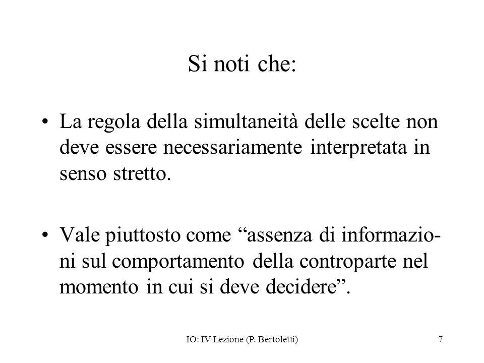 IO: IV Lezione (P. Bertoletti)7 Si noti che: La regola della simultaneità delle scelte non deve essere necessariamente interpretata in senso stretto.