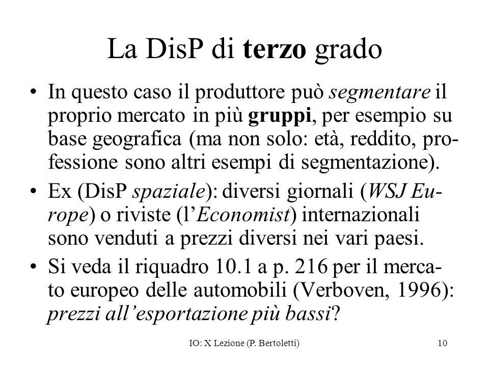 IO: X Lezione (P. Bertoletti)10 La DisP di terzo grado In questo caso il produttore può segmentare il proprio mercato in più gruppi, per esempio su ba