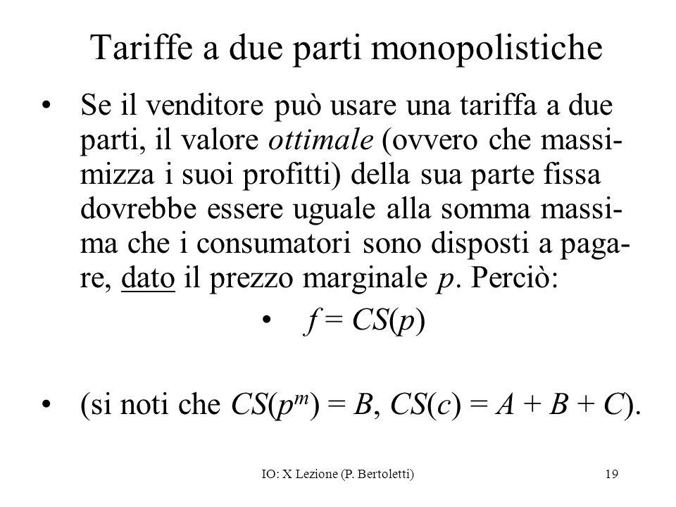 IO: X Lezione (P. Bertoletti)19 Tariffe a due parti monopolistiche Se il venditore può usare una tariffa a due parti, il valore ottimale (ovvero che m