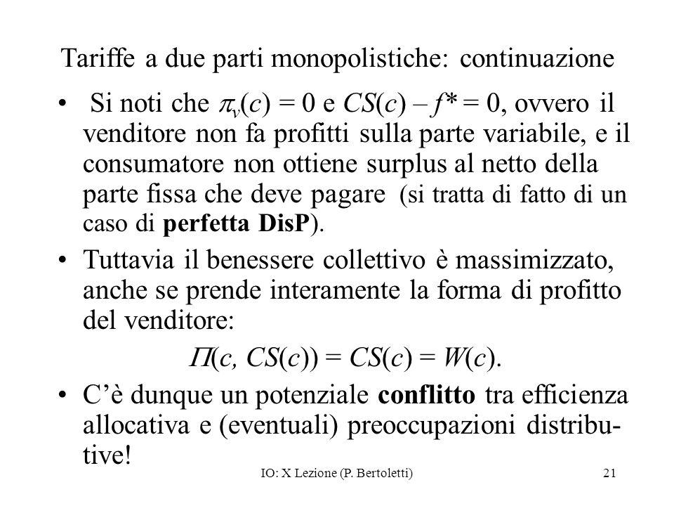 IO: X Lezione (P. Bertoletti)21 Tariffe a due parti monopolistiche: continuazione Si noti che v (c) = 0 e CS(c) – f* = 0, ovvero il venditore non fa p