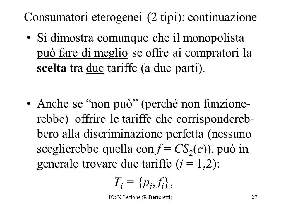 IO: X Lezione (P. Bertoletti)27 Consumatori eterogenei (2 tipi): continuazione Si dimostra comunque che il monopolista può fare di meglio se offre ai