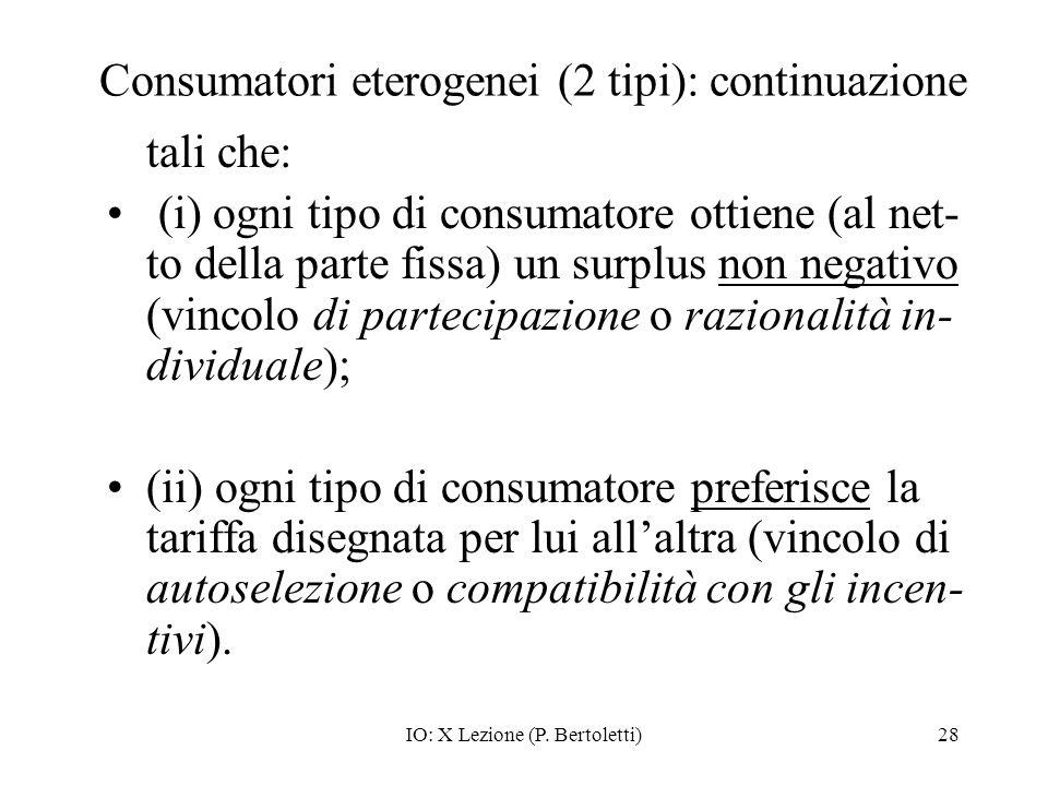 IO: X Lezione (P. Bertoletti)28 Consumatori eterogenei (2 tipi): continuazione tali che: (i) ogni tipo di consumatore ottiene (al net- to della parte