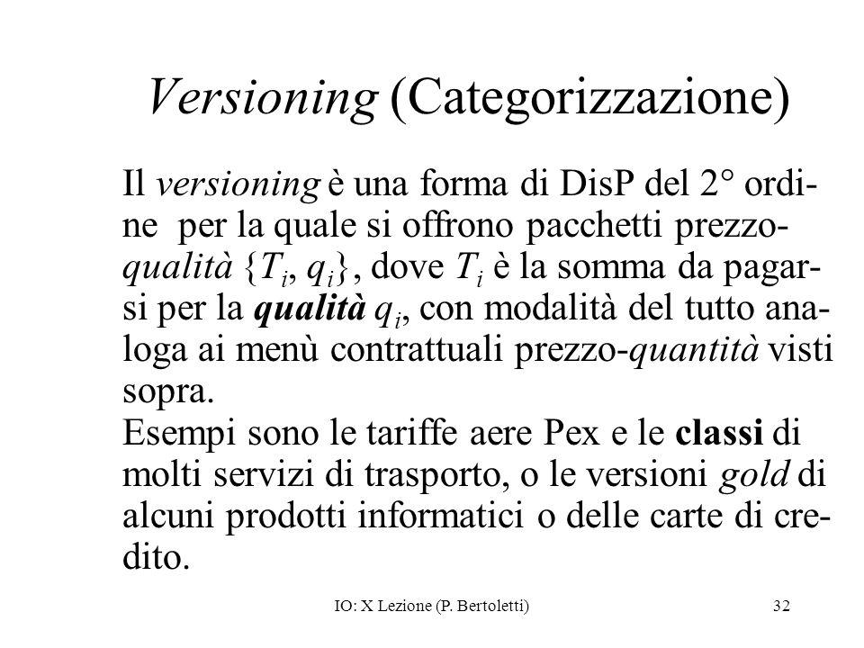 IO: X Lezione (P. Bertoletti)32 Versioning (Categorizzazione) Il versioning è una forma di DisP del 2° ordi- ne per la quale si offrono pacchetti prez