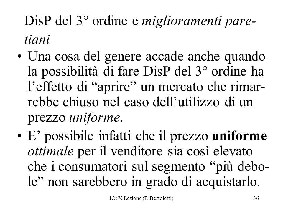 IO: X Lezione (P. Bertoletti)36 DisP del 3° ordine e miglioramenti pare- tiani Una cosa del genere accade anche quando la possibilità di fare DisP del