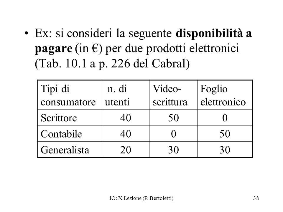 IO: X Lezione (P. Bertoletti)38 Ex: si consideri la seguente disponibilità a pagare (in ) per due prodotti elettronici (Tab. 10.1 a p. 226 del Cabral)