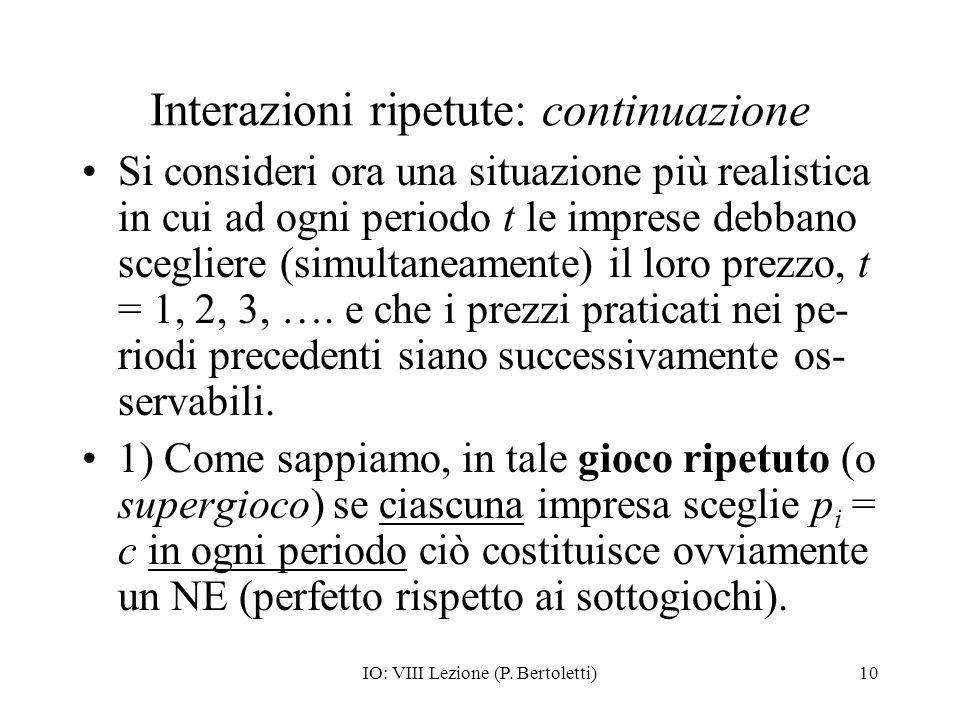 IO: VIII Lezione (P. Bertoletti)10 Interazioni ripetute: continuazione Si consideri ora una situazione più realistica in cui ad ogni periodo t le impr