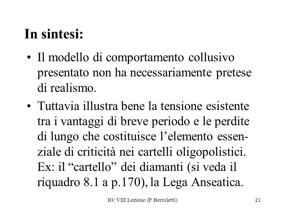 IO: VIII Lezione (P. Bertoletti)21 In sintesi: Il modello di comportamento collusivo presentato non ha necessariamente pretese di realismo. Tuttavia i