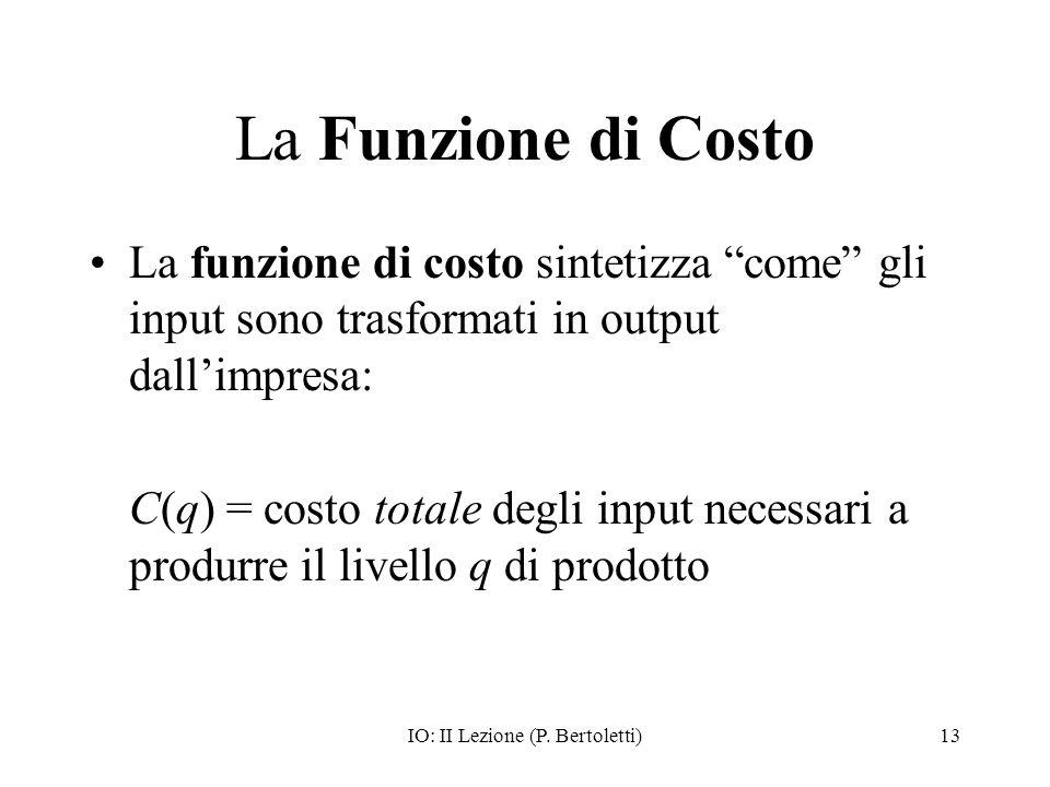 IO: II Lezione (P. Bertoletti)13 La Funzione di Costo La funzione di costo sintetizza come gli input sono trasformati in output dallimpresa: C(q) = co