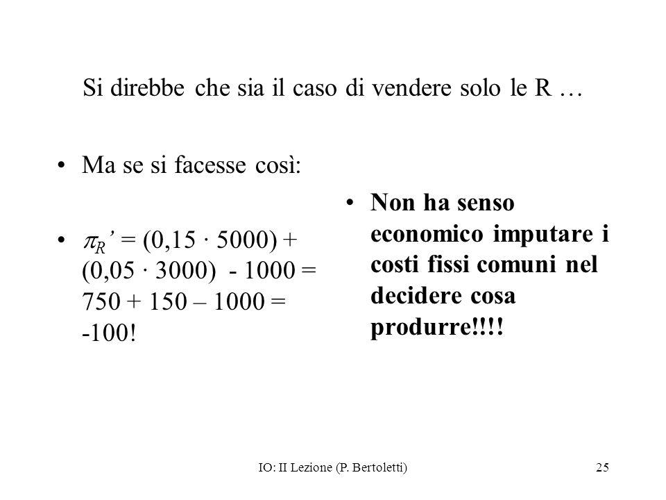IO: II Lezione (P. Bertoletti)25 Si direbbe che sia il caso di vendere solo le R … Ma se si facesse così: R = (0,15 · 5000) + (0,05 · 3000) - 1000 = 7