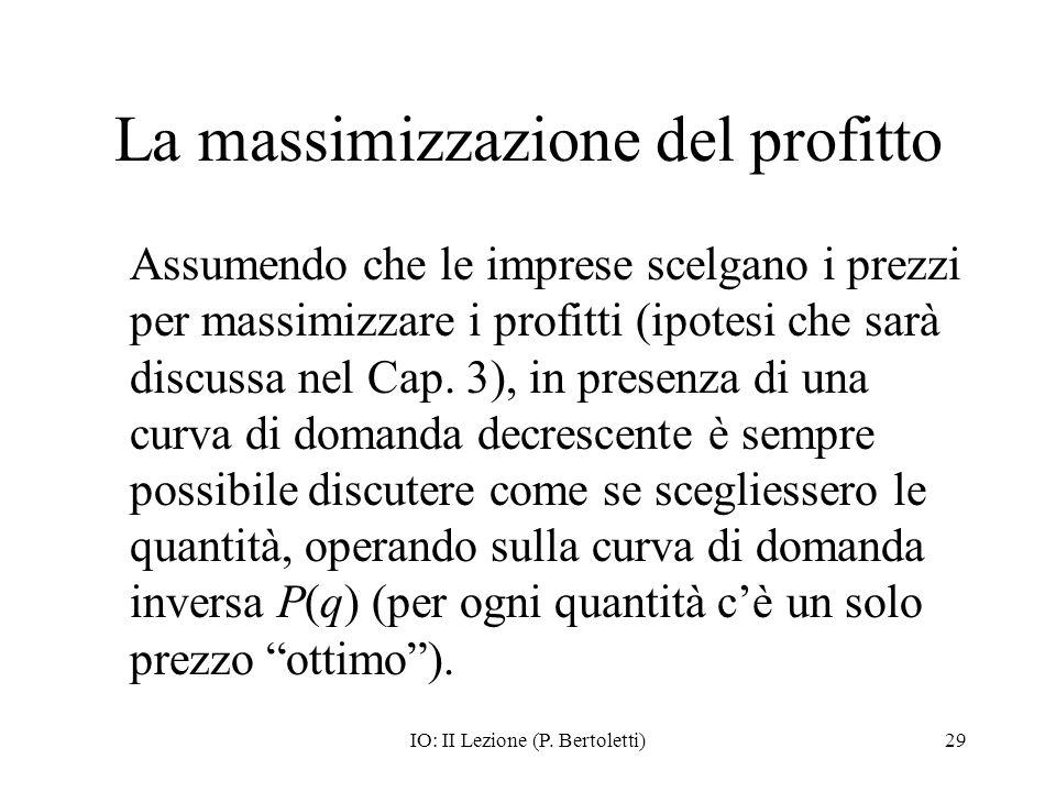 IO: II Lezione (P. Bertoletti)29 La massimizzazione del profitto Assumendo che le imprese scelgano i prezzi per massimizzare i profitti (ipotesi che s
