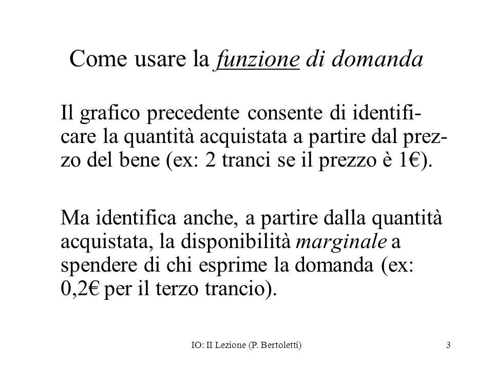 IO: II Lezione (P. Bertoletti)3 Come usare la funzione di domanda Il grafico precedente consente di identifi- care la quantità acquistata a partire da