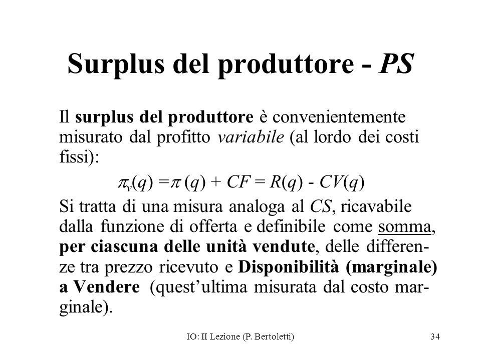 IO: II Lezione (P. Bertoletti)34 Surplus del produttore - PS Il surplus del produttore è convenientemente misurato dal profitto variabile (al lordo de