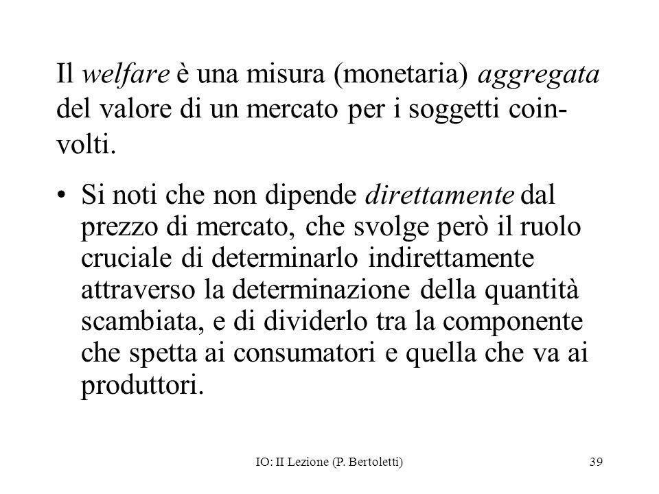 IO: II Lezione (P. Bertoletti)39 Il welfare è una misura (monetaria) aggregata del valore di un mercato per i soggetti coin- volti. Si noti che non di