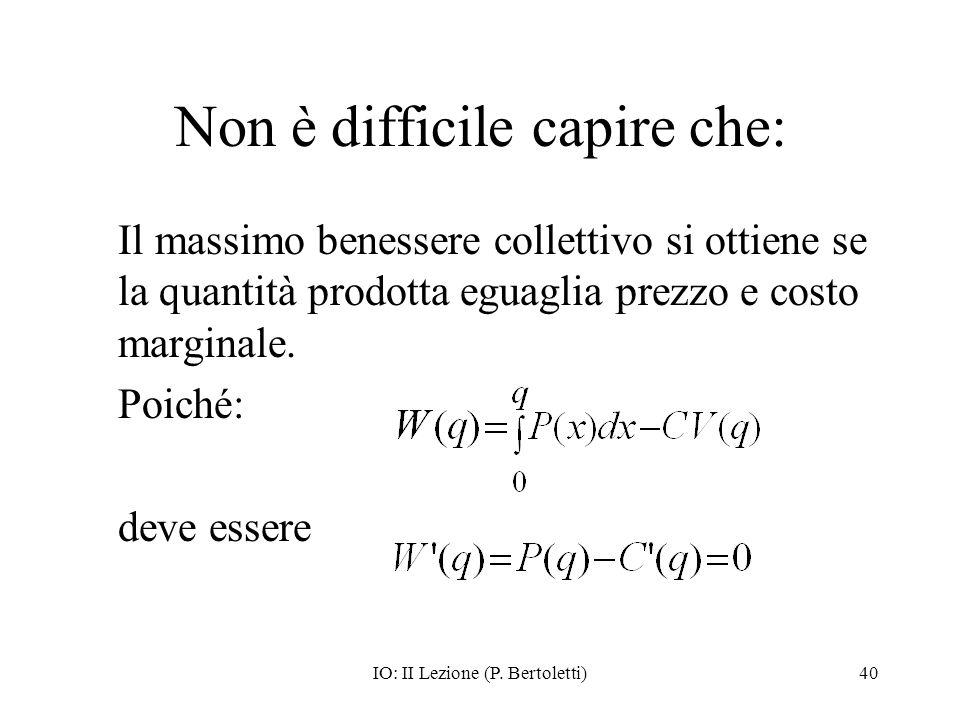 IO: II Lezione (P. Bertoletti)40 Non è difficile capire che: Il massimo benessere collettivo si ottiene se la quantità prodotta eguaglia prezzo e cost
