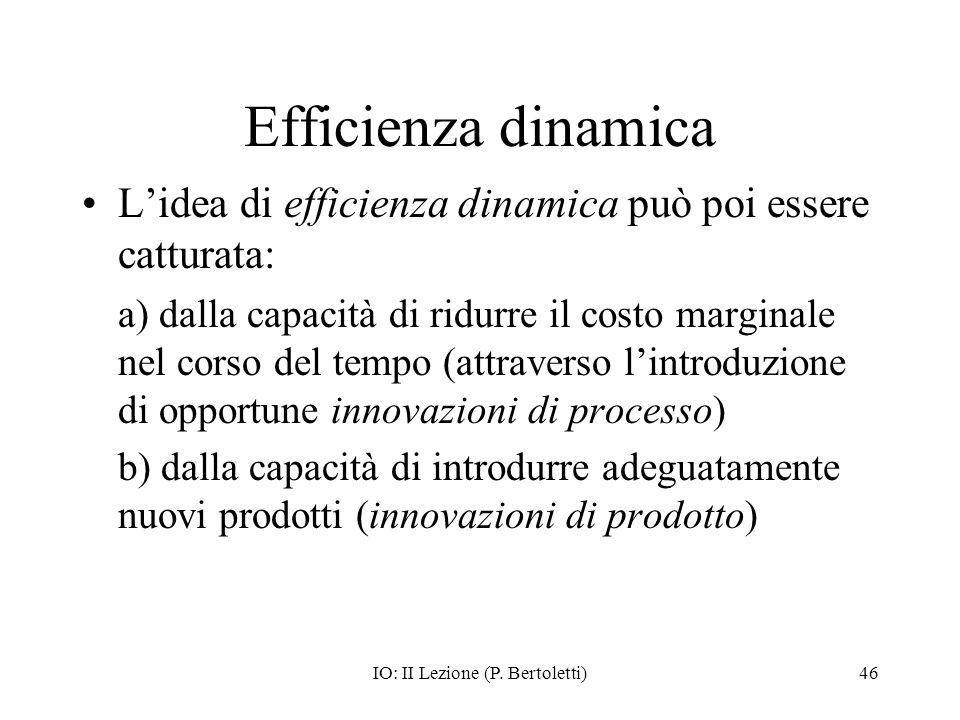 IO: II Lezione (P. Bertoletti)46 Efficienza dinamica Lidea di efficienza dinamica può poi essere catturata: a) dalla capacità di ridurre il costo marg
