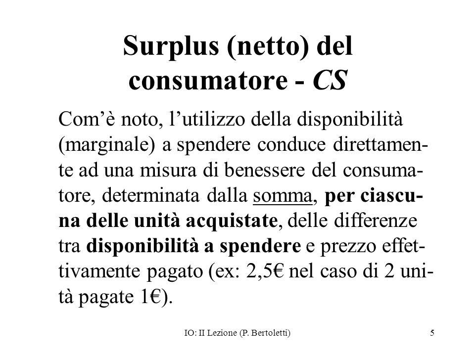 IO: II Lezione (P. Bertoletti)5 Surplus (netto) del consumatore - CS Comè noto, lutilizzo della disponibilità (marginale) a spendere conduce direttame