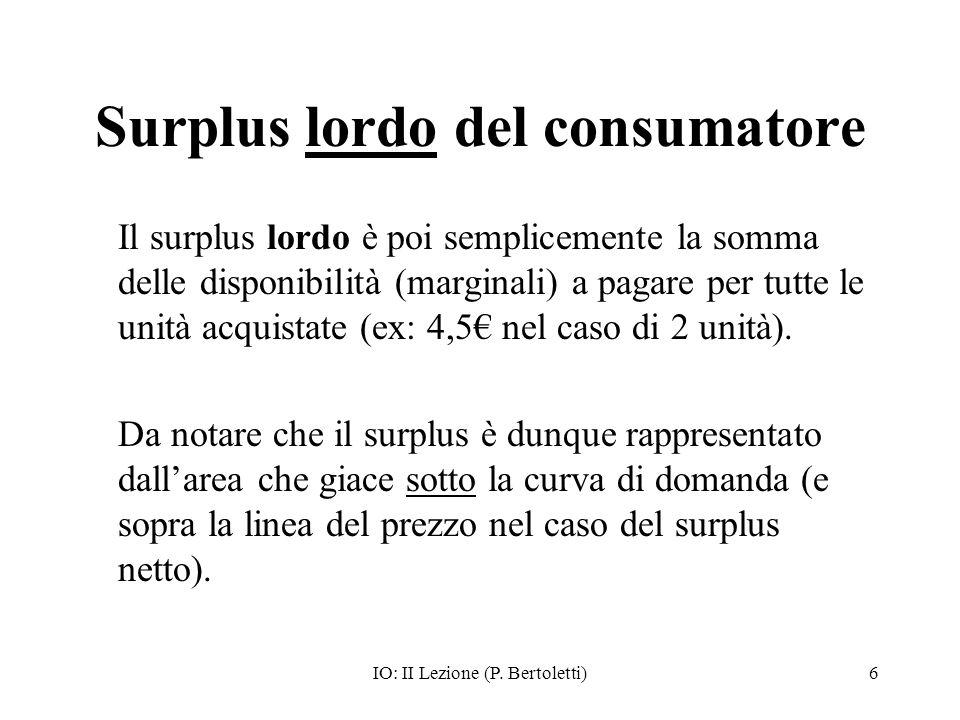 IO: II Lezione (P. Bertoletti)6 Surplus lordo del consumatore Il surplus lordo è poi semplicemente la somma delle disponibilità (marginali) a pagare p