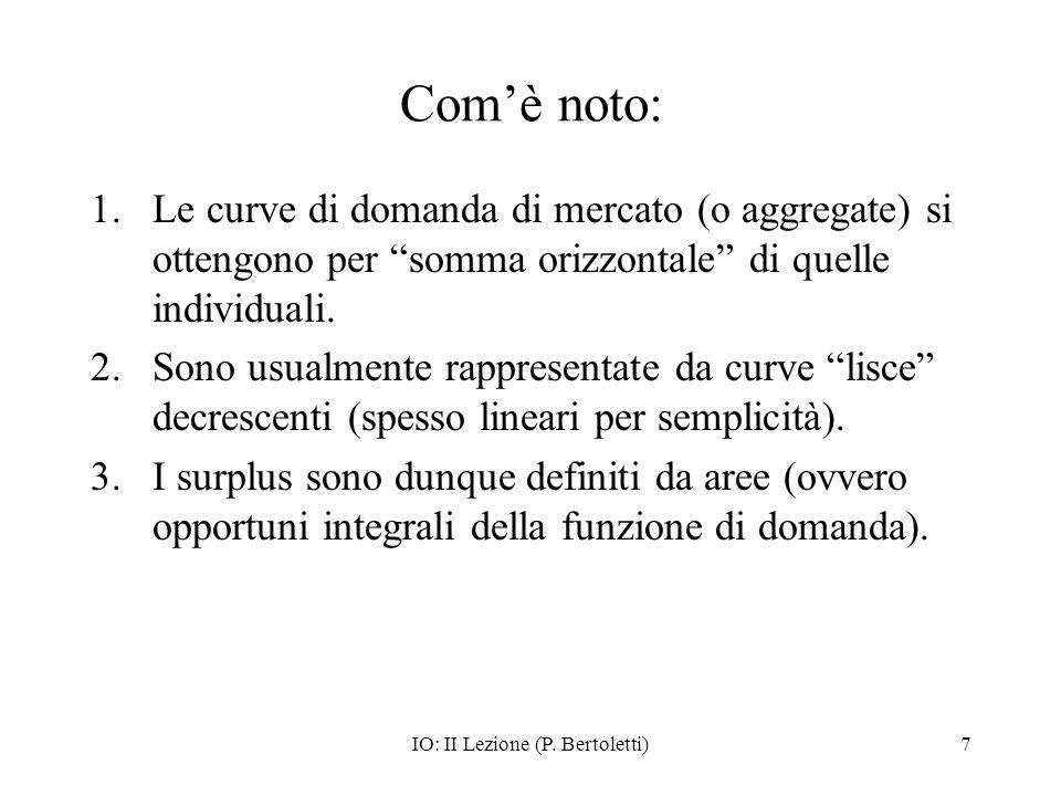 IO: II Lezione (P. Bertoletti)7 Comè noto: 1.Le curve di domanda di mercato (o aggregate) si ottengono per somma orizzontale di quelle individuali. 2.