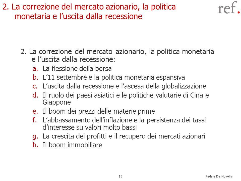 Fedele De Novellis 15 2. La correzione del mercato azionario, la politica monetaria e luscita dalla recessione 2. La correzione del mercato azionario,