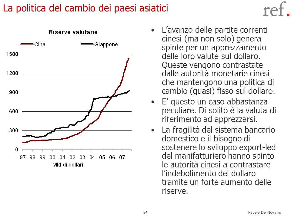 Fedele De Novellis 24 La politica del cambio dei paesi asiatici Lavanzo delle partite correnti cinesi (ma non solo) genera spinte per un apprezzamento