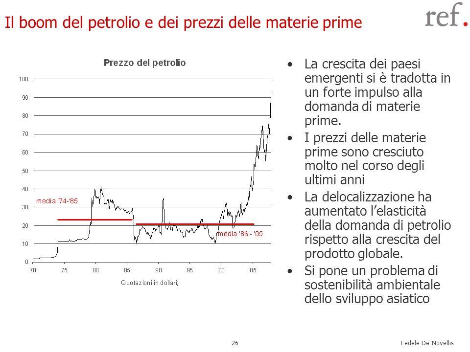 Fedele De Novellis 26 Il boom del petrolio e dei prezzi delle materie prime La crescita dei paesi emergenti si è tradotta in un forte impulso alla dom