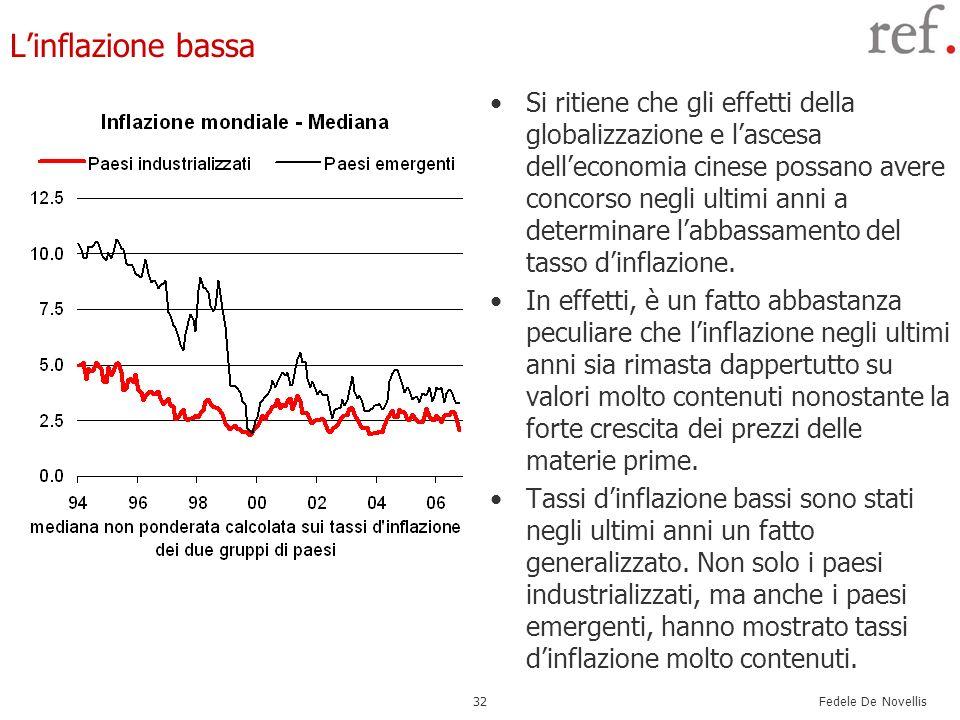 Fedele De Novellis 32 Linflazione bassa Si ritiene che gli effetti della globalizzazione e lascesa delleconomia cinese possano avere concorso negli ul