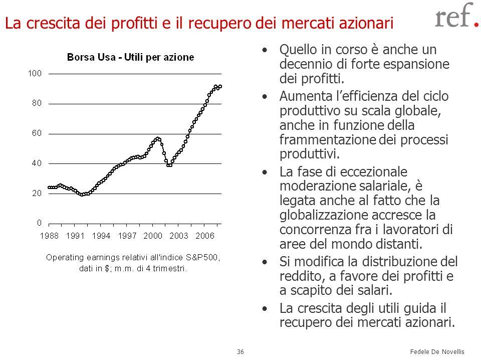 Fedele De Novellis 36 La crescita dei profitti e il recupero dei mercati azionari Quello in corso è anche un decennio di forte espansione dei profitti
