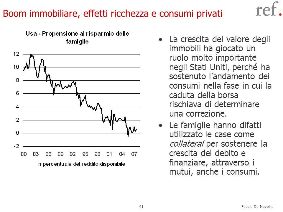 Fedele De Novellis 41 Boom immobiliare, effetti ricchezza e consumi privati La crescita del valore degli immobili ha giocato un ruolo molto importante