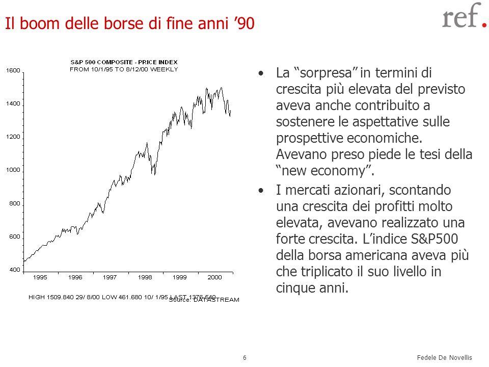 Fedele De Novellis 7 Dietro le attese dei mercati: il paradigma della new economy Le tesi della new economy si basavano sullidea che fosse in corso un salto tecnologico (legato allInformation & Communication technology.