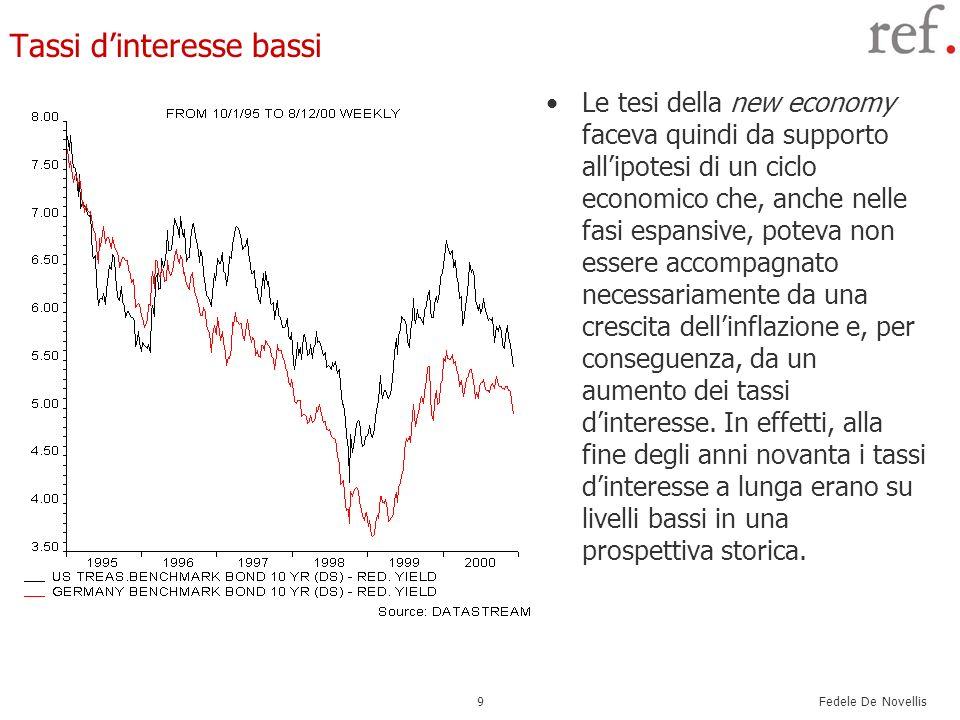 Fedele De Novellis 9 Tassi dinteresse bassi Le tesi della new economy faceva quindi da supporto allipotesi di un ciclo economico che, anche nelle fasi