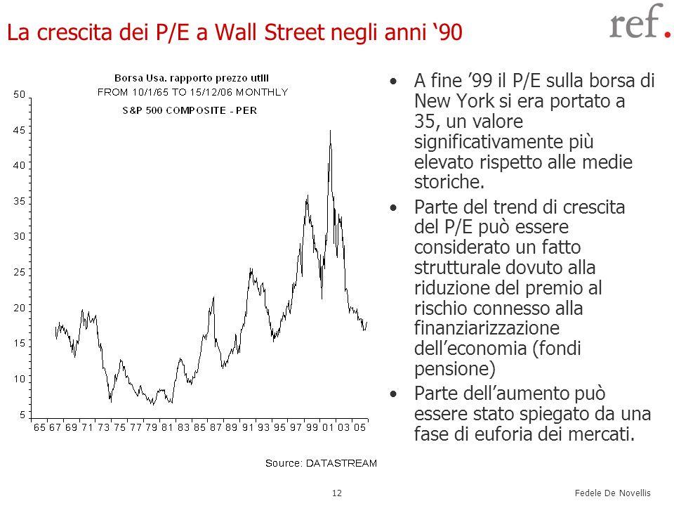 Fedele De Novellis 12 La crescita dei P/E a Wall Street negli anni 90 A fine 99 il P/E sulla borsa di New York si era portato a 35, un valore signific