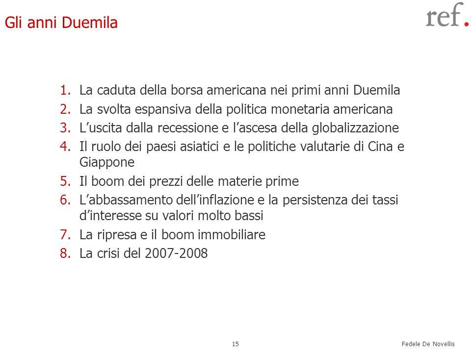 Fedele De Novellis 15 Gli anni Duemila 1.La caduta della borsa americana nei primi anni Duemila 2.La svolta espansiva della politica monetaria america