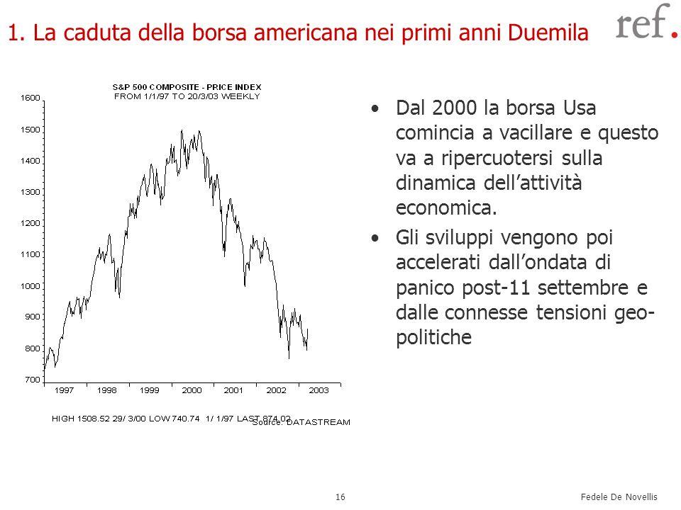 Fedele De Novellis 16 1. La caduta della borsa americana nei primi anni Duemila Dal 2000 la borsa Usa comincia a vacillare e questo va a ripercuotersi