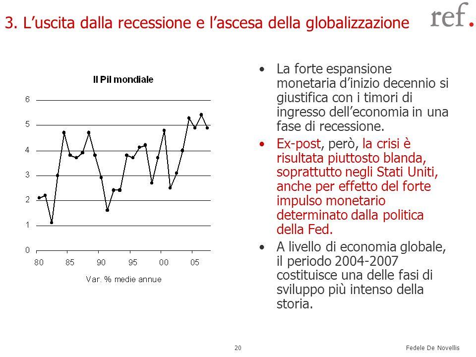 Fedele De Novellis 20 3. Luscita dalla recessione e lascesa della globalizzazione La forte espansione monetaria dinizio decennio si giustifica con i t