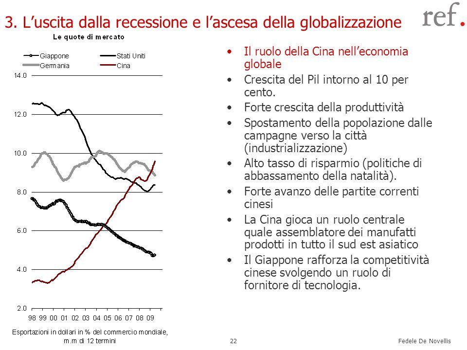 Fedele De Novellis 22 3. Luscita dalla recessione e lascesa della globalizzazione Il ruolo della Cina nelleconomia globale Crescita del Pil intorno al