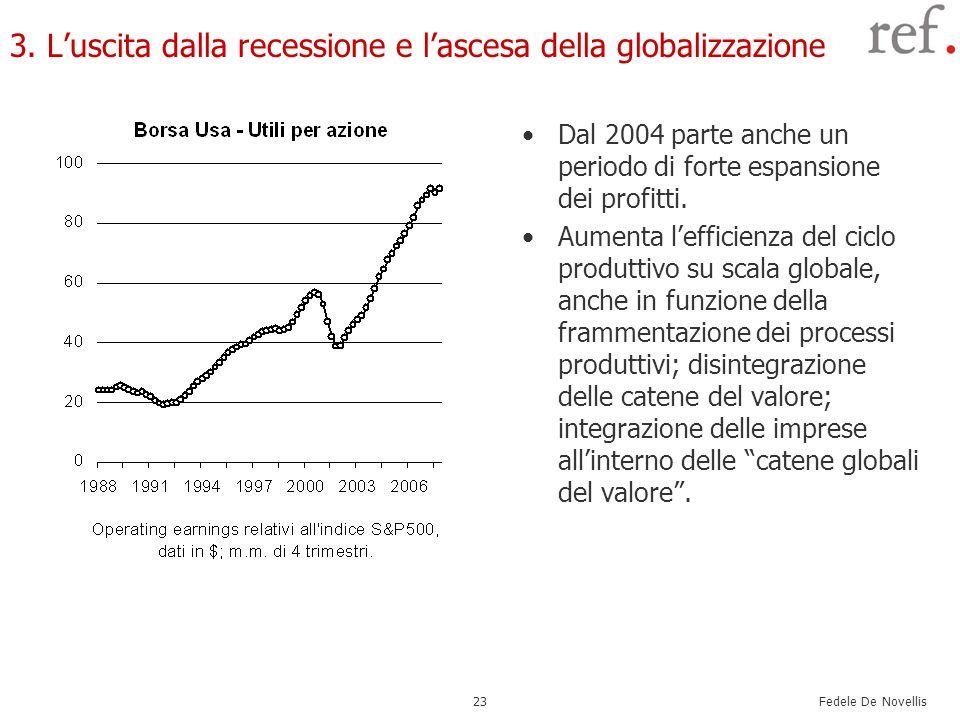 Fedele De Novellis 23 3. Luscita dalla recessione e lascesa della globalizzazione Dal 2004 parte anche un periodo di forte espansione dei profitti. Au