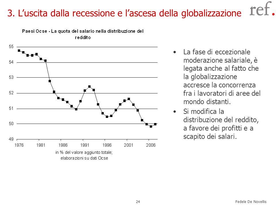 Fedele De Novellis 24 La fase di eccezionale moderazione salariale, è legata anche al fatto che la globalizzazione accresce la concorrenza fra i lavor