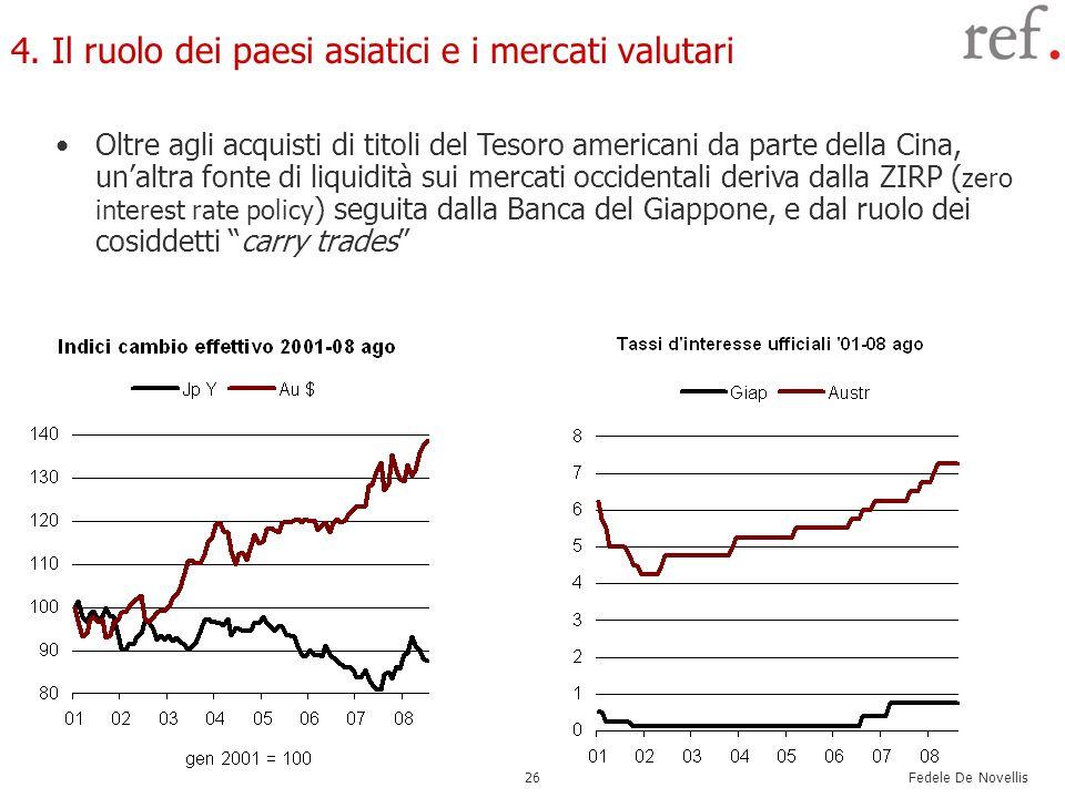 Fedele De Novellis 26 4. Il ruolo dei paesi asiatici e i mercati valutari Oltre agli acquisti di titoli del Tesoro americani da parte della Cina, unal