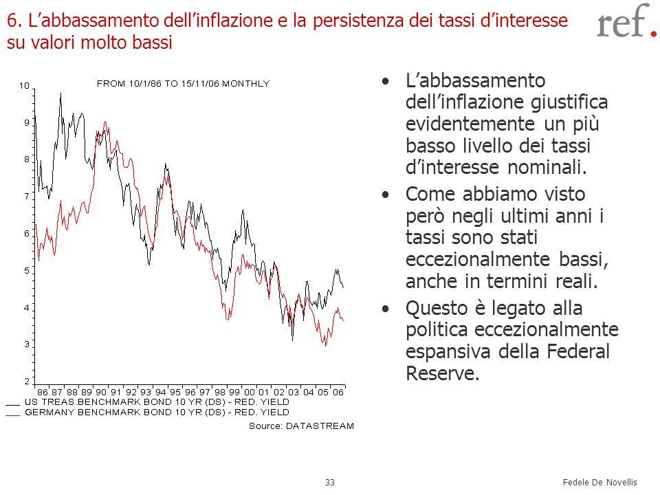 Fedele De Novellis 33 6. Labbassamento dellinflazione e la persistenza dei tassi dinteresse su valori molto bassi Labbassamento dellinflazione giustif