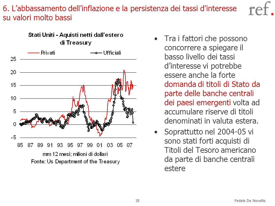 Fedele De Novellis 35 6. Labbassamento dellinflazione e la persistenza dei tassi dinteresse su valori molto bassi Tra i fattori che possono concorrere