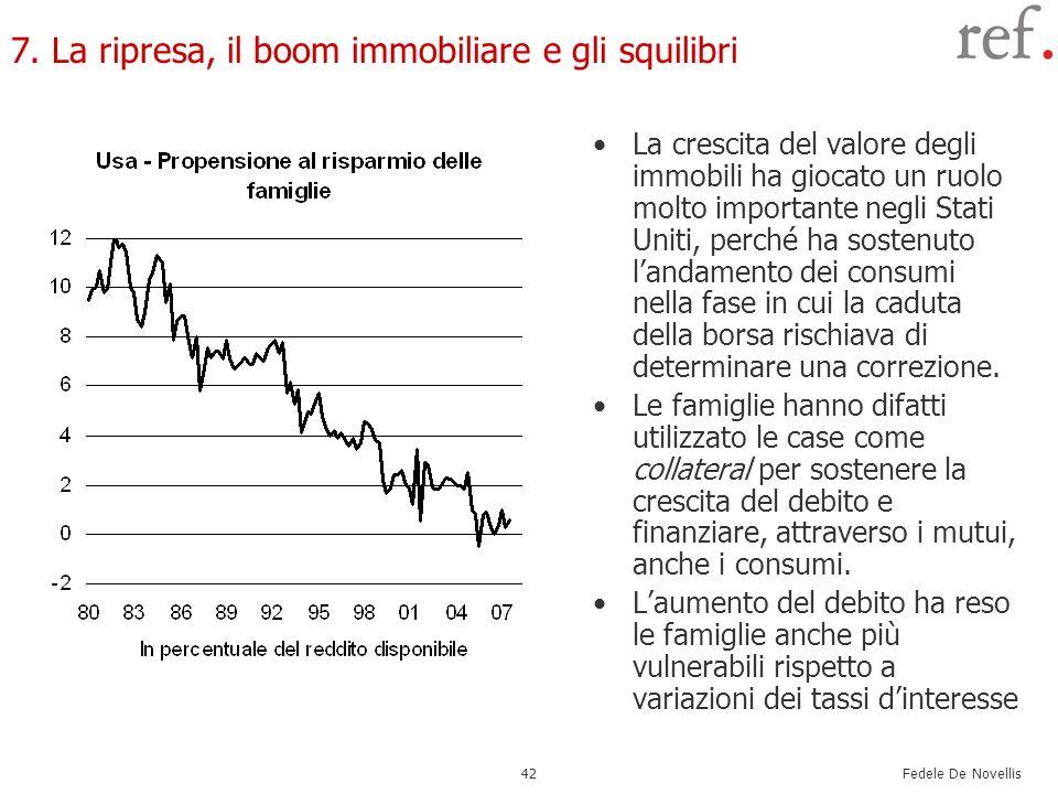 Fedele De Novellis 42 7. La ripresa, il boom immobiliare e gli squilibri La crescita del valore degli immobili ha giocato un ruolo molto importante ne