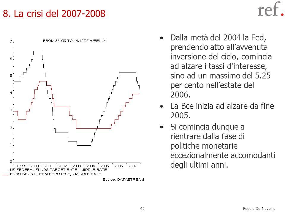 Fedele De Novellis 46 8. La crisi del 2007-2008 Dalla metà del 2004 la Fed, prendendo atto allavvenuta inversione del ciclo, comincia ad alzare i tass