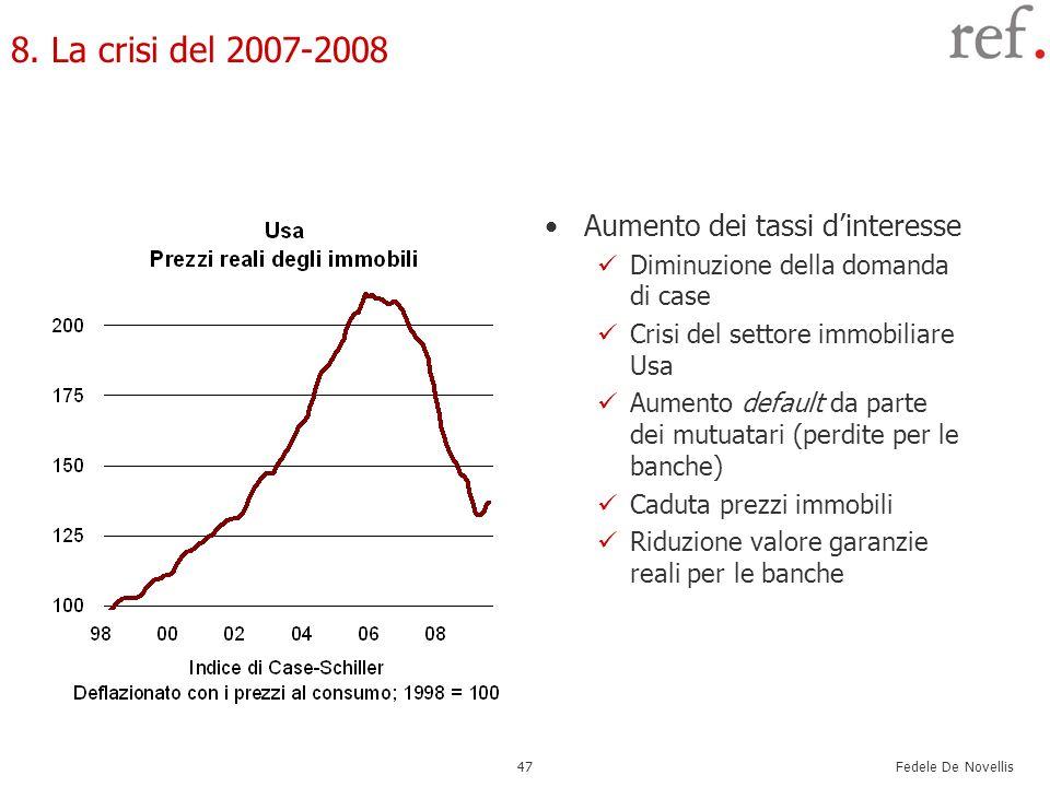 Fedele De Novellis 47 8. La crisi del 2007-2008 Aumento dei tassi dinteresse Diminuzione della domanda di case Crisi del settore immobiliare Usa Aumen