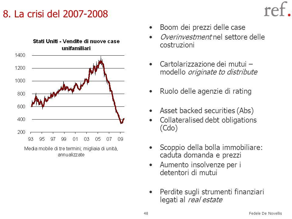 Fedele De Novellis 48 8. La crisi del 2007-2008 Boom dei prezzi delle case Overinvestment nel settore delle costruzioni Cartolarizzazione dei mutui –