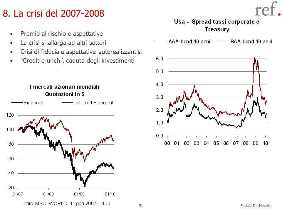 Fedele De Novellis 51 8. La crisi del 2007-2008 Premio al rischio e aspettative La crisi si allarga ad altri settori Crisi di fiducia e aspettative au