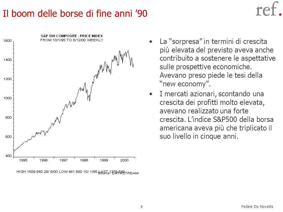 Fedele De Novellis 6 Il boom delle borse di fine anni 90 La sorpresa in termini di crescita più elevata del previsto aveva anche contribuito a sostene