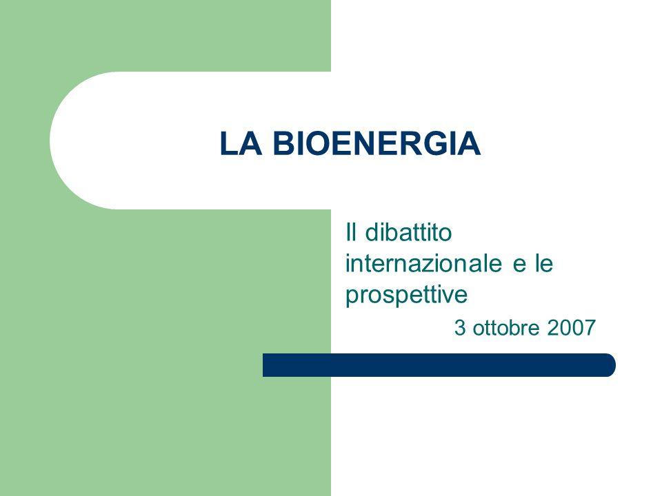 LA BIOENERGIA Il dibattito internazionale e le prospettive 3 ottobre 2007