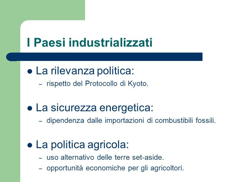 I Paesi industrializzati La rilevanza politica: – rispetto del Protocollo di Kyoto.